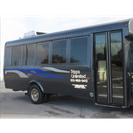 side and interio of small black airport shuttle