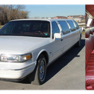 front and interior of white limousine